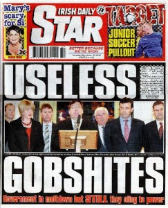 irish daily star front page headline useless gobshites