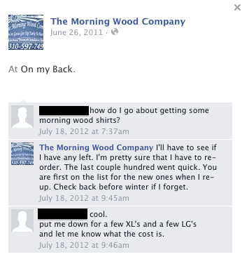 The Morning Wood Company FB About Page