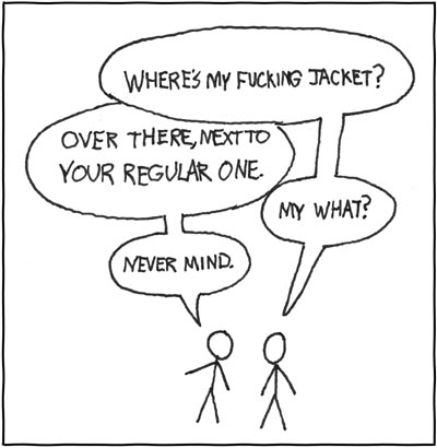 xkcd cartoon - fucking jacket ambiguity