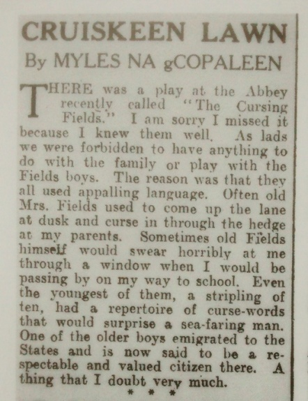 myles na gcopaleen - cursing fields , from cruiskeen lawn, 1942