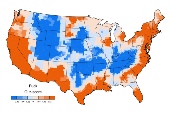 Jack Grieve swear map of USA GI z-score FUCK