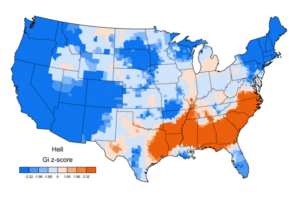 Jack Grieve swear map of USA GI z-score HELL