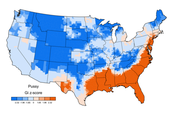 Jack Grieve swear map of USA GI z-score PUSSY