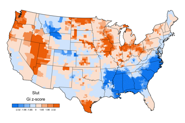 Jack Grieve swear map of USA GI z-score SLUT