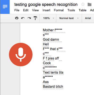 google docs censors swearwords