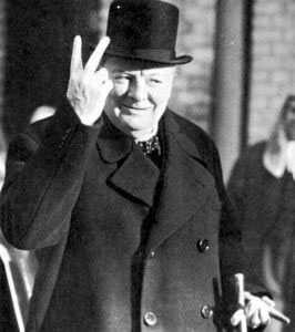 Churchill flipping off