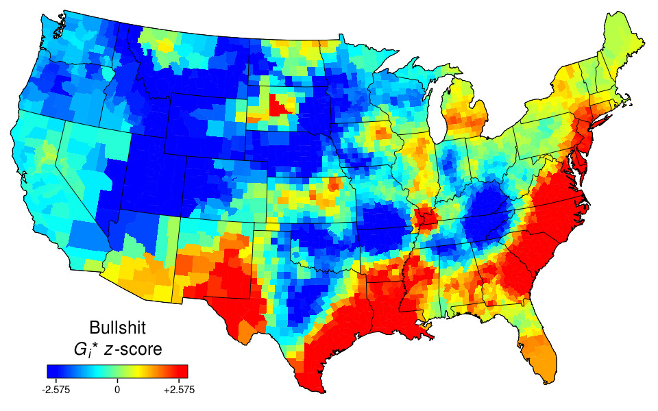 Relative Prevalence Of The Word Bullshit In US Geotagged Tweets - Us word map