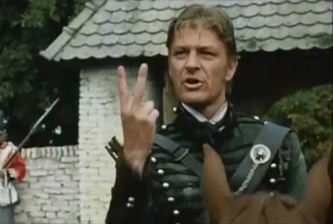 Sean Bean Sharpe two fingers gesture
