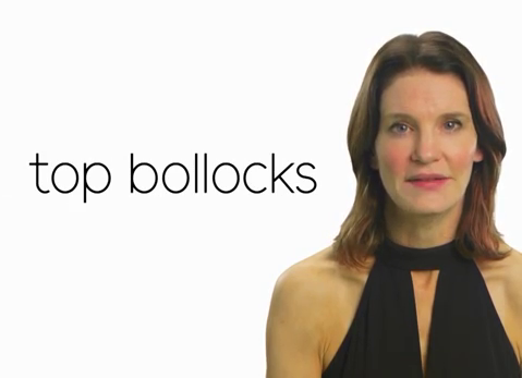 A screengrab from 'Susie Dent's Guide to Swearing' with Susie Dent on the right and the words 'top bollocks' on the left