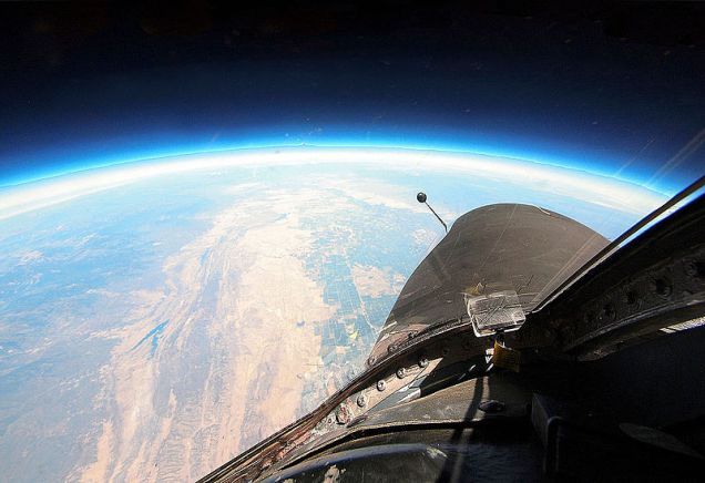 View of the curvature of the earth, below empty space, from a U-2 spy plane