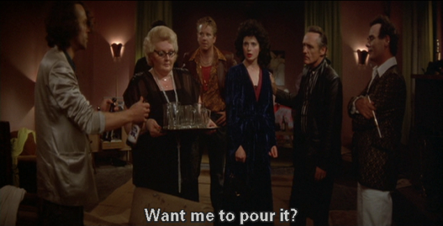 "A woman carries the drinks in on a tray and Brad Dourif asks Hopper, ""Want me to pour it?"""