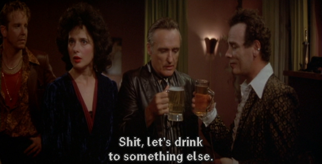 "Back in the apartment, Hopper replies to Stockwell, ""Shit, let's drink to something else."""