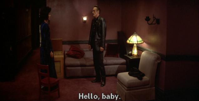 """Blue Velvet: Isabella Rosselini greets Dennis Hopper in her apartment: """"Hello, baby."""""""
