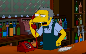 Image of Moe, bartender in The Simpsons, picking up the phone in his bar