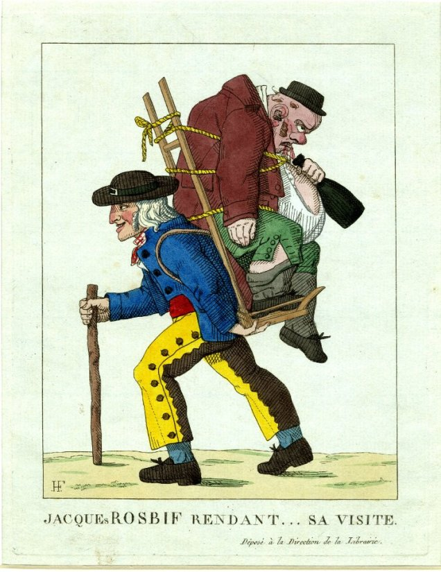 Coloured illustration of a drunken Englishman being carried on a soldier's back. The caption reads